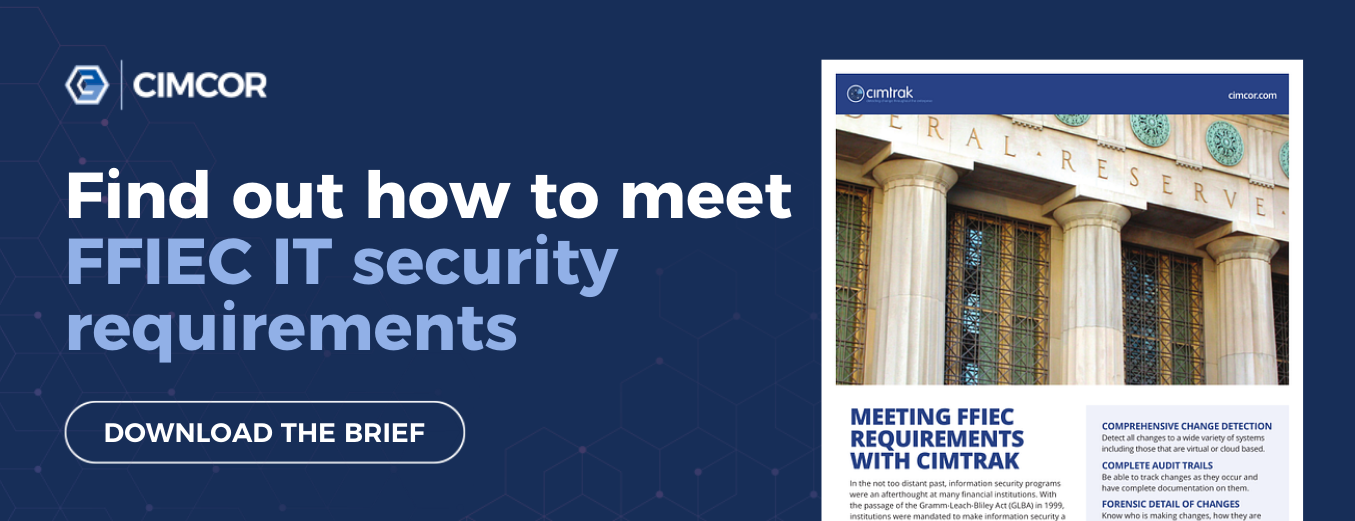 Find out how to meet FFIEC IT security requirements with the free FFIEC solution brief.